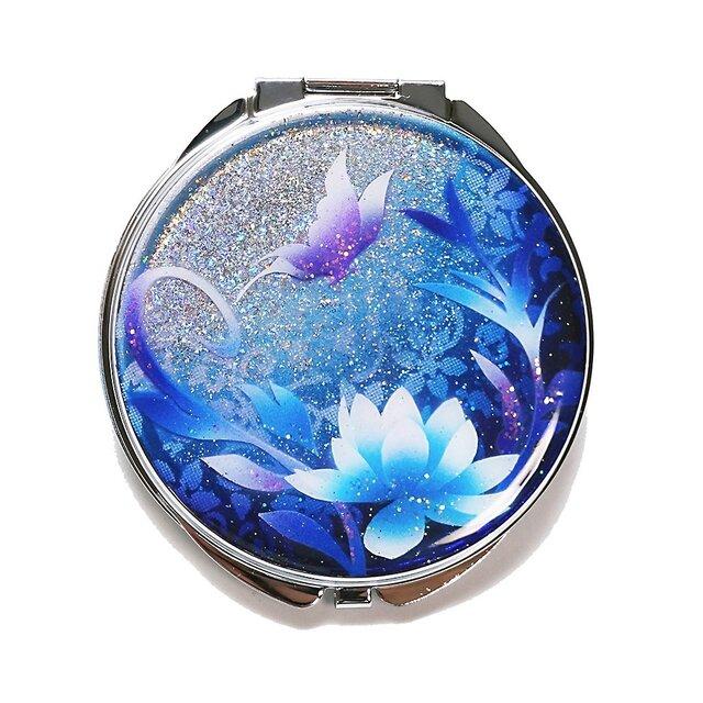 ピルケース 機能付き コンパクトミラー 蓮と蝶 青Version ミラー付き 銀箔入の画像1枚目