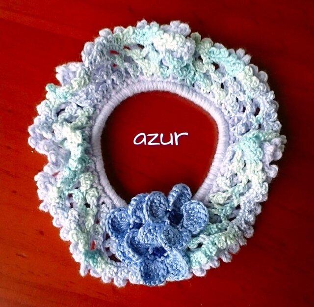 手編みシュシュ 淡いラベンダー色+ブルー系の画像1枚目