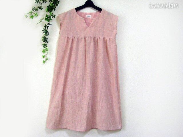 S~LL 綿麻ストライプのキーネックワンピース ピンク 【受注】の画像1枚目