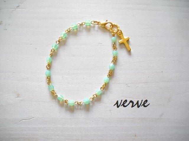 Cross Bracelet Mint Greenの画像1枚目
