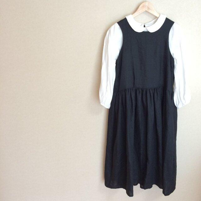 リネンのジャンパースカートの画像1枚目