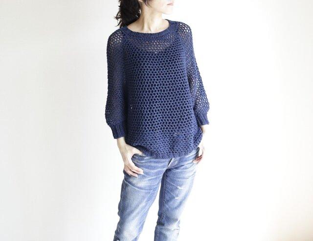 summer sweater(m) navy / サマーセーター(m) 紺の画像1枚目