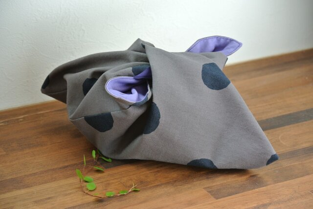 【再販】あづま袋(水玉)gray×sumiの画像1枚目