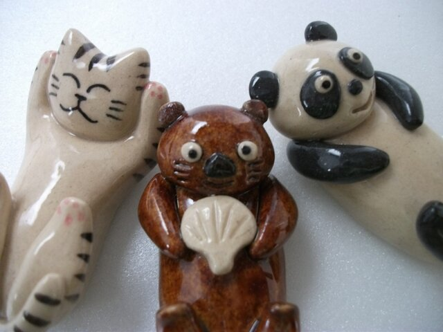 猫とパンダとラッコの箸置き3個セットの画像1枚目