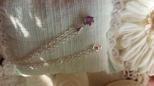 宝石質ピンクアメジストブリリアントカットペンダントSilver925製 の画像1枚目