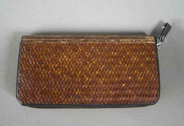 竹装飾長財布網代の画像1枚目