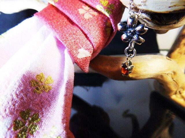 シルバーペンダント桜レッド 40cmシルバーチェーン付の画像1枚目