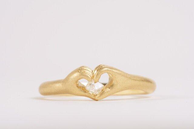 ハートの手のリング(ダイヤモンド原石)の画像1枚目