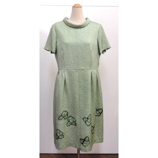 絞り染め ロールカラーワンピース(着物リメイク)(半袖)(絹/シルク)[opJ1]の画像1枚目