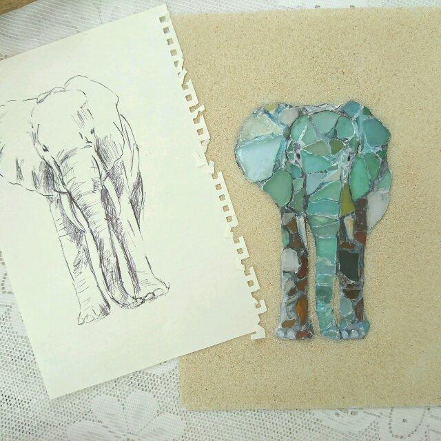 Seaglass Walldecoration  「ゾウ」の画像1枚目