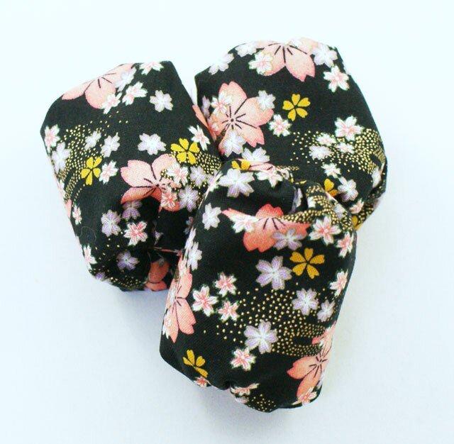 お手玉 桜柄のたわら型/くろ 3つセットの画像1枚目