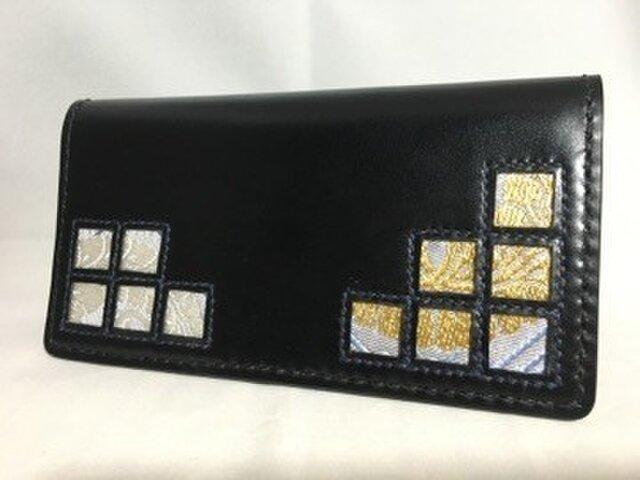 左利き用 市松模様の手縫い長財布の画像1枚目