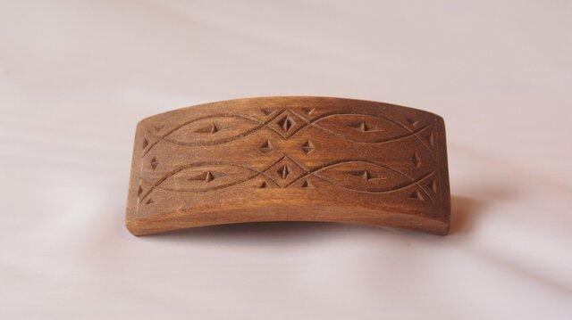 #2 チップカービングバレッタ 【木工彫刻】の画像1枚目