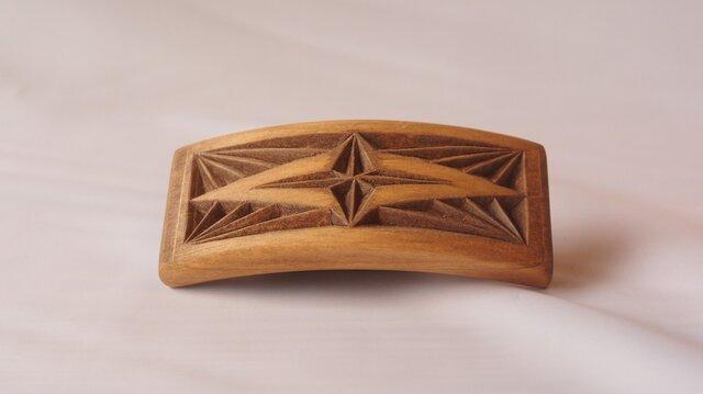 #5 チップカービングバレッタ 【木工彫刻】の画像1枚目