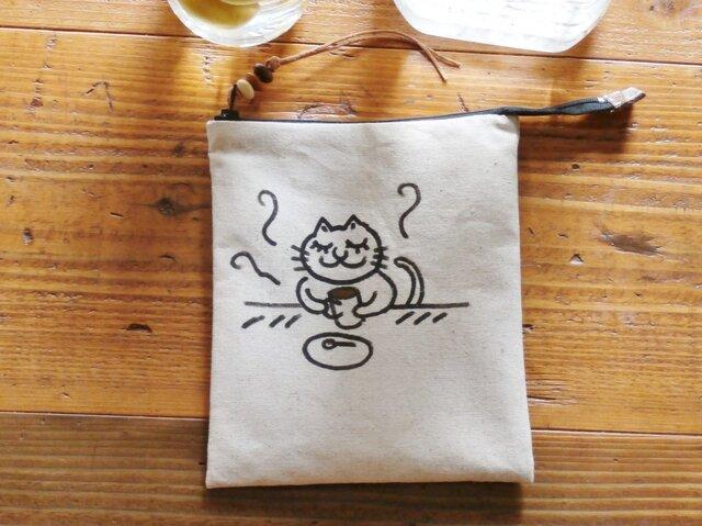 手描きネコのポーチ(珈琲時間)の画像1枚目