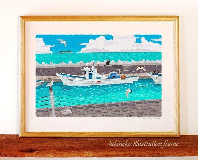 たびねこイラストフレーム-22 夏の堤防の画像1枚目