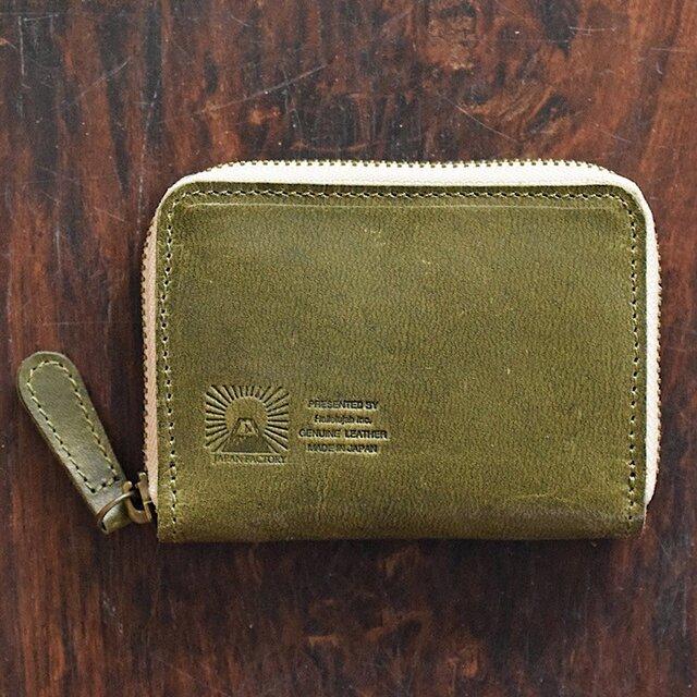 JAPAN LEATHERの馬革コインケース【オリーブ】 小さなお財布 名入れできますの画像1枚目
