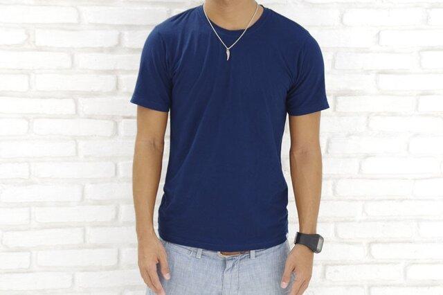 メンズビスコースアースTシャツ<ネイビー>Sサイズの画像1枚目