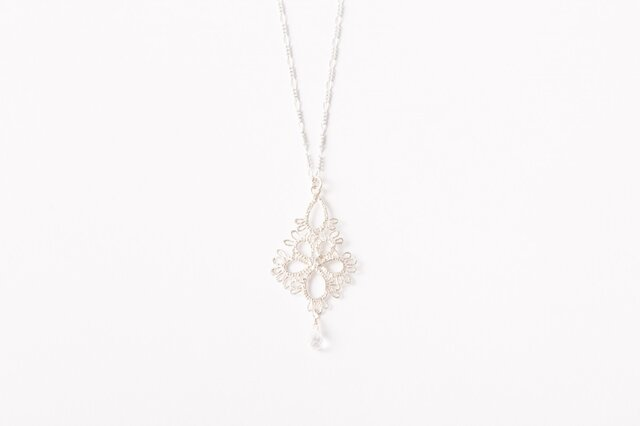 Flower Drop Necklace Silverの画像1枚目