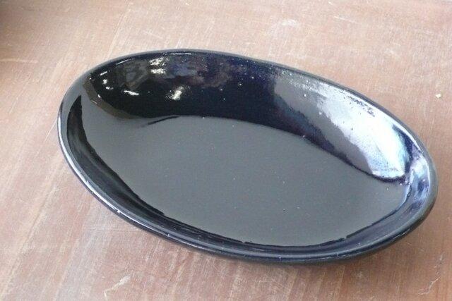 瑠璃楕円鉢の画像1枚目