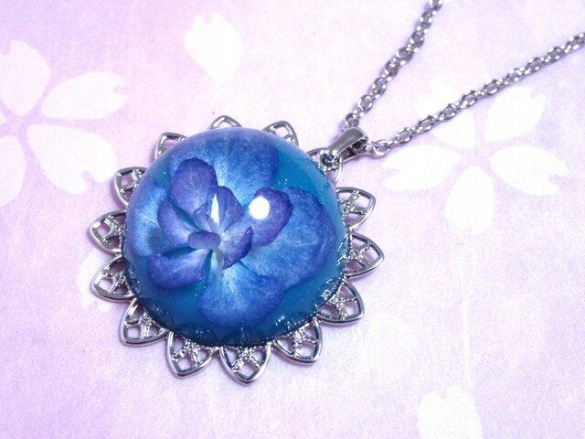 紫陽花のドーム型ネックレス【一輪】の画像1枚目