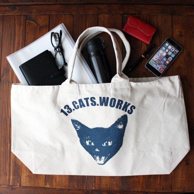 旅行にも使えるサイズの帆布ビッグトートバッグ(VIVI FACE) シルクスクリーン 13.CATS.WORKSオリジナルの画像1枚目