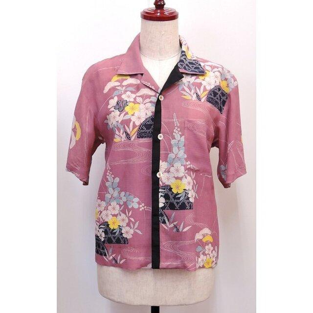 着物リメイクのアロハシャツ (夏/絽)(絹/シルク)【shtA1】の画像1枚目