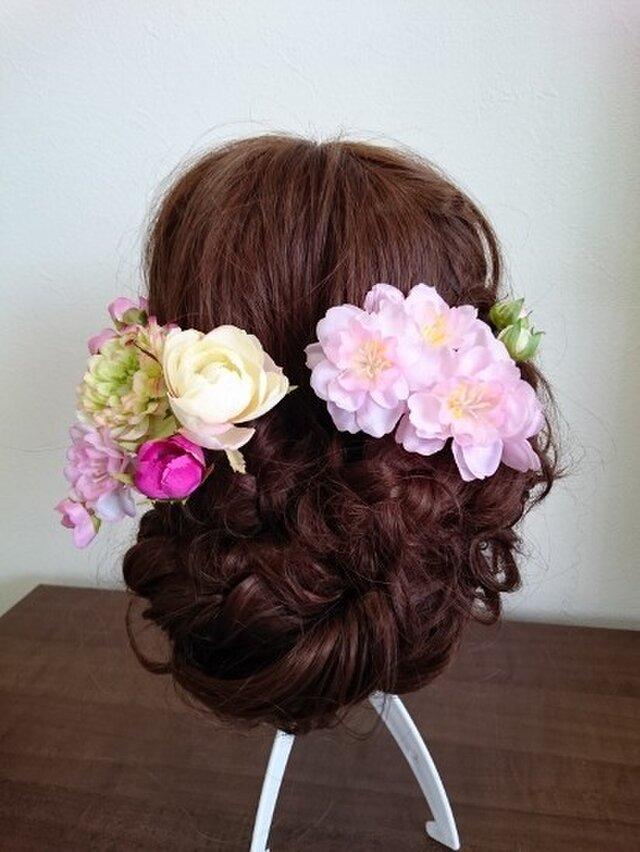 送料無料 ドルチェラナンキュラスと桜の髪飾り8点セット No0020 *Ohanaya Coco*の画像1枚目