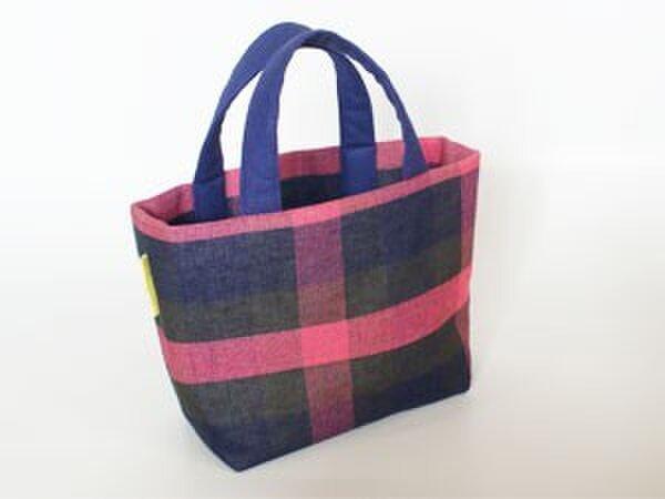 手織りリネン横型トートバッグの画像1枚目