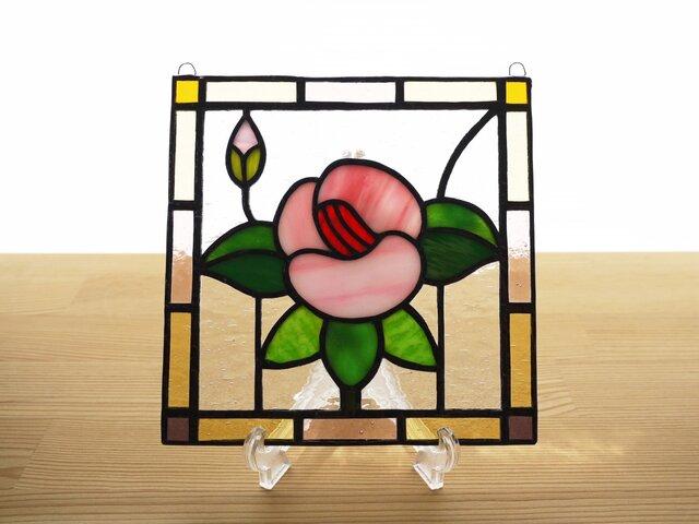 ステンドグラス ミニパネル フラワー・ピンク系 15cmの画像1枚目