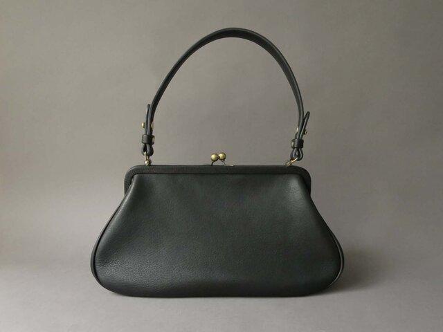plain gama hand bag -round (black)の画像1枚目