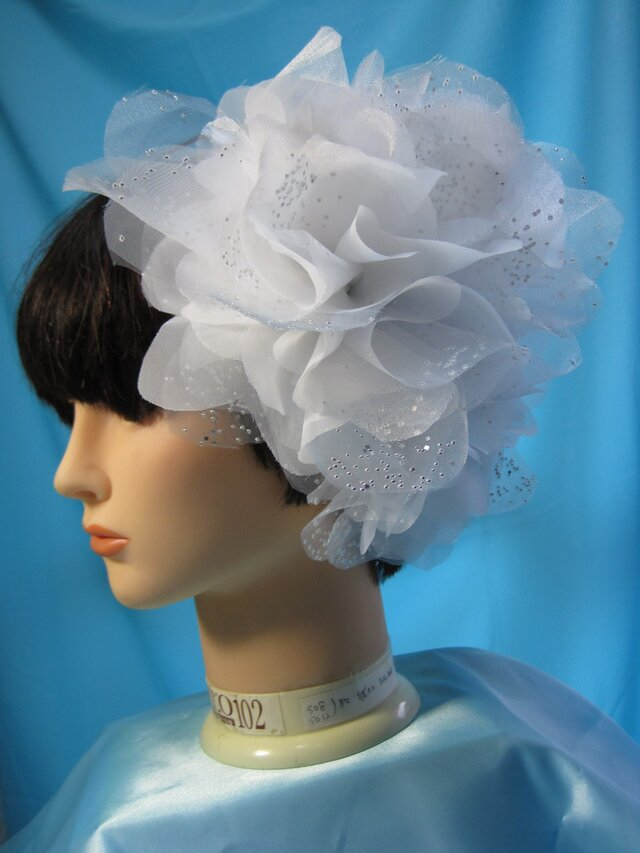 ウェディングヘッドドレス 3ピースきらきらオーガンジー ヘアーコサージュの画像1枚目