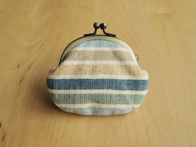 手紡ぎ手織りのがま口 -夏色ボーダー-の画像1枚目