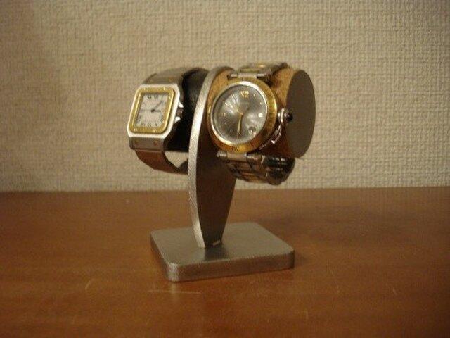 2本掛け白黒どっしり腕時計スタンドの画像1枚目