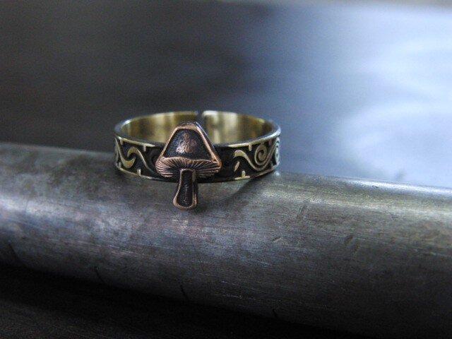 キノコ彫模様真鍮ブラスリング 指輪サイズ1号~15号/タイリング,トゥリングにもの画像1枚目