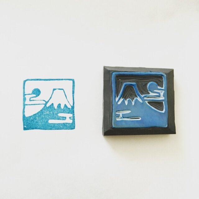 消しゴムはんこ・和きゅーぶ〈富士山〉の画像1枚目