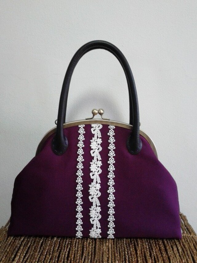 あずき紫和色・名古屋帯・がま口バッグの画像1枚目