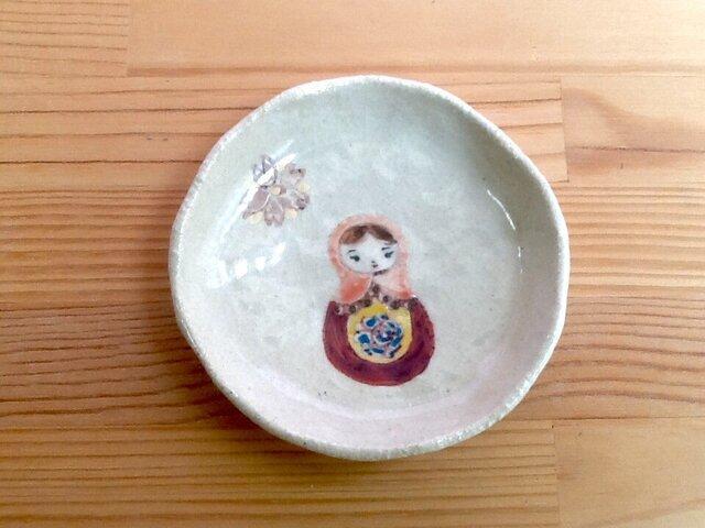 マトリョーシカ 小皿 赤色の画像1枚目
