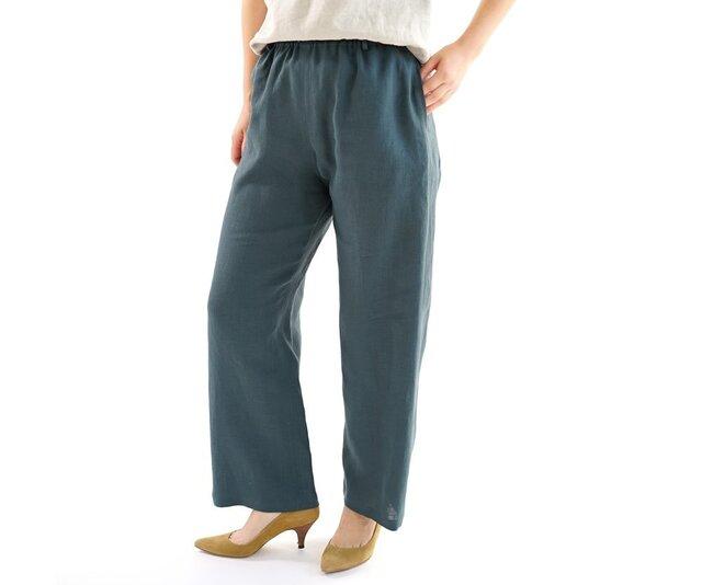 【wafu】薄地 雅亜麻 リネン パンツ リラックスパンツ ボトムス ウエストゴム/高麗納戸 b001a-kou1の画像1枚目