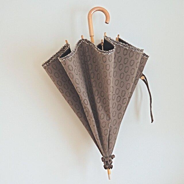 ハーフリネンの日傘/カーキ(0の点滅柄)の画像1枚目