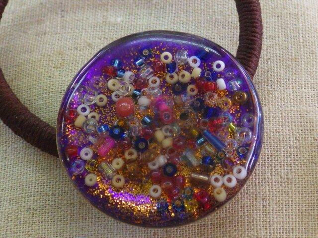 レジンのヘアゴム(万華鏡:紫)の画像1枚目