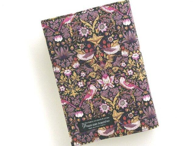 リバティ 文庫 ブックカバー ストロベリーシーフ 黒紫の画像1枚目