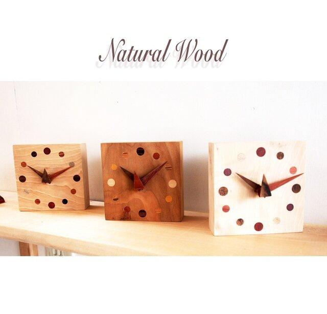 自然木埋め木の置き時計の画像1枚目