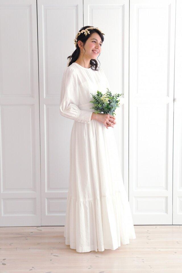 コットンリネンのウエディングドレス