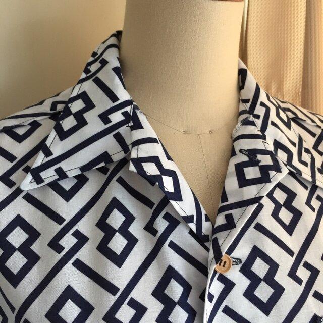 浴衣シャツ(メンズ向け・Lサイズ)幾何学模様の画像1枚目