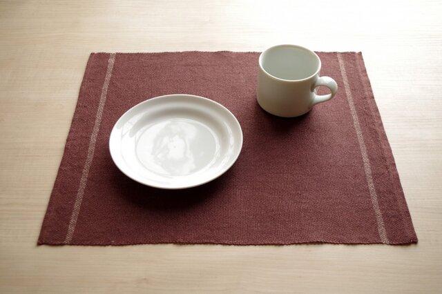 手織りリネンランチョンマット ブラウンの画像1枚目