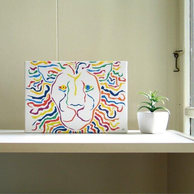 絵画 イラスト アート パネル ライオン 獅子 LION 白 SM-02の画像1枚目