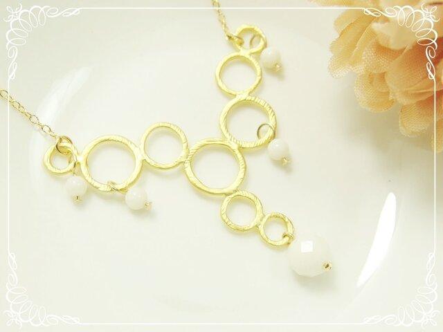 *K14GF***N90*高品質白珊瑚AAA☆バブルロングネックレス(60cm)の画像1枚目