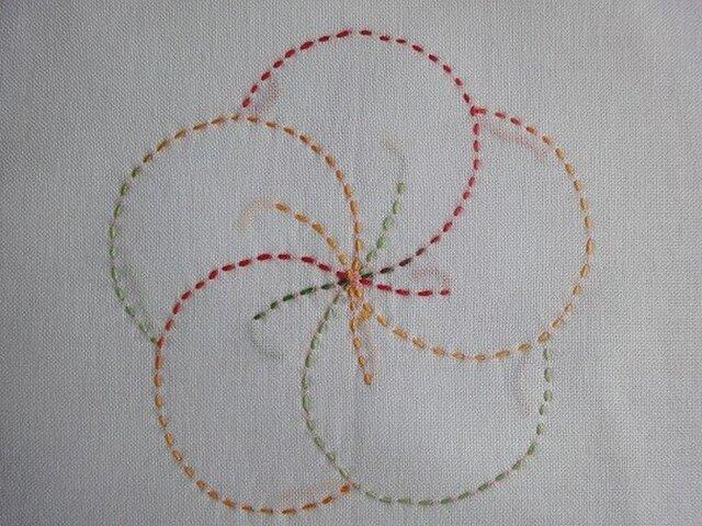 花ふきん 刺し子(段染め 赤 緑 橙) 扇とねじり梅の画像1枚目