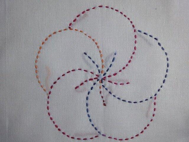 花ふきん 刺し子(段染め 赤 青 橙) 扇とねじり梅の画像1枚目